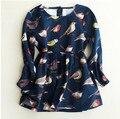 YXN6554329 Vestido Pájaros de Impresión de la Moda Al Por Menor 2016 Del Invierno Del Bebé Del Niño Niñas Princesa Dress Niños Ropa Proveedor