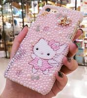 SAM S10 Bling Crystal Luxury Pearl Hello Kitty Diamond case For Samsung Galaxy S10plus S9 S8 note8 note9 Pink gift shell cover