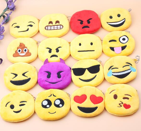 Methodical Wholesale Emoji Purse 10pcs/lot Kawaii Smiley Wallet Emoticon Yellow Round Coin Bag Plush Toy Storage Bag Removing Obstruction Home & Garden