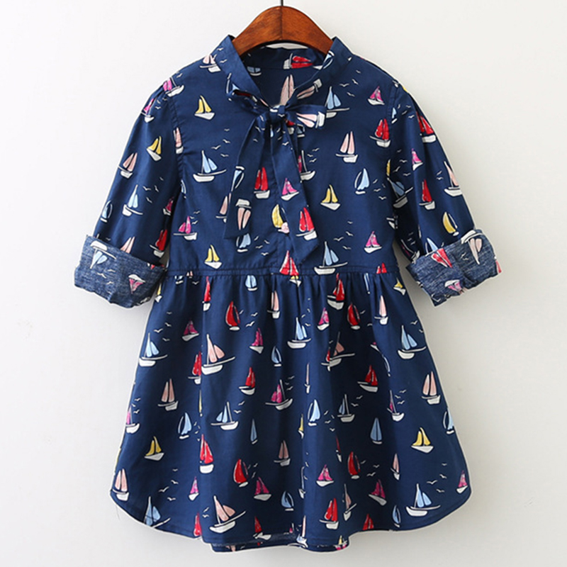 Girls Dress 2018 New Autumn Style Kids Spring Clothes Long-Sleeves Casual Girls Clothing Children Dress Boats Printing Clothes new brand 2017 girls long dress summer fashion beach printing mid calf children casual o neck sleeveless clothes 6 15y kids hot