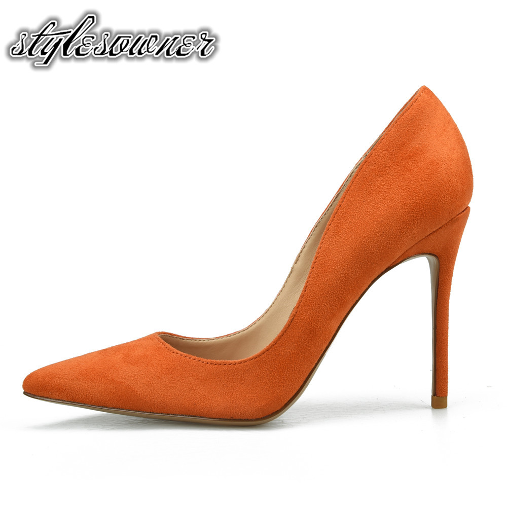 Stylesowner 2018 High End Slip on High Heels Single Lady Shoes Thin Heels Sexy Pointed Toe Party Pumps Woman Shoes Orange color apoepo 2018 newest woman stilettos pumps sexy pointed toe slip on dress heels office lady thin heels shoes bling party shoes