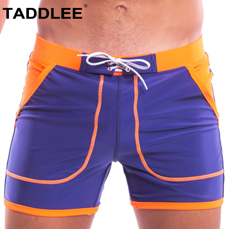 Taddlee Brand Sexy Men's Swimwear Swimsuits Swim Boxer Briefs   Board     Shorts   Men Swimming Long Gay Solid Pockets Surfing Trunks