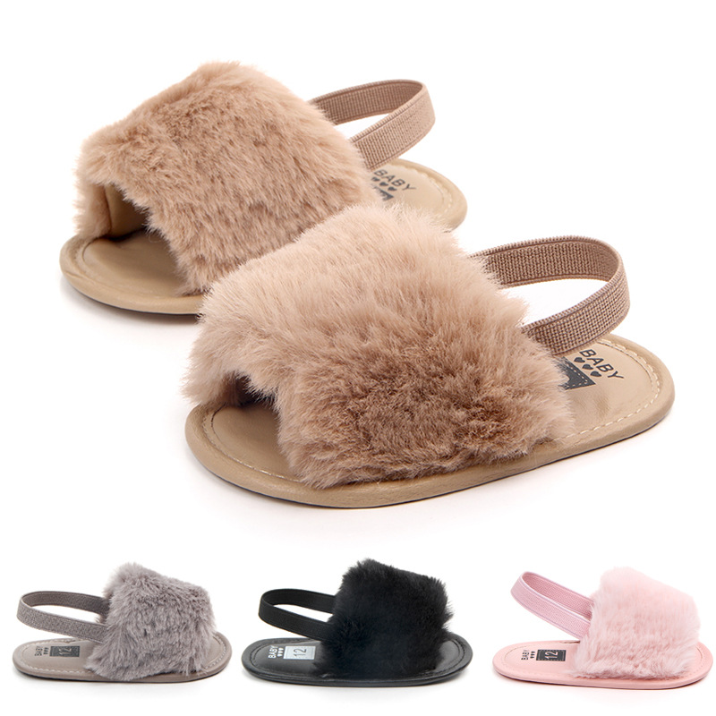 Summer Soft Hair Style Classic Baby Girl Slipper Sandals Breathable Baby Fur Shoes Simple Elastic Sandals Princess Baby Shoes