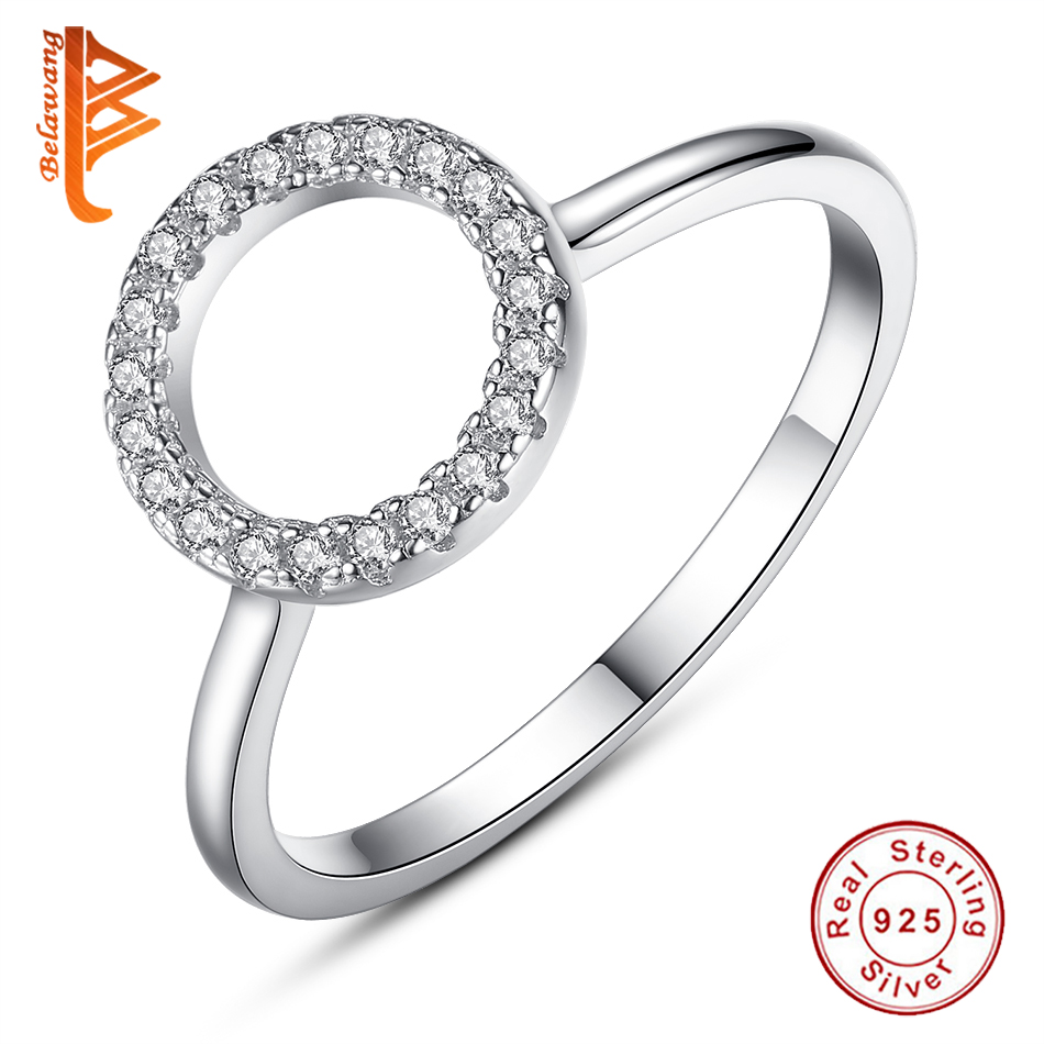 BELAWANG Real 925 Sterling Silver Natural Handmade Fashion Jewelry Finger Rings Hollow Round Big Rings for Women Ladies Bijoux