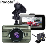 Podofo Dual Lens Car DVR Camera Full HD 1080P 170 Degree Registrator Recorder Backup Rearview Camera Loop Recording Dash Cam