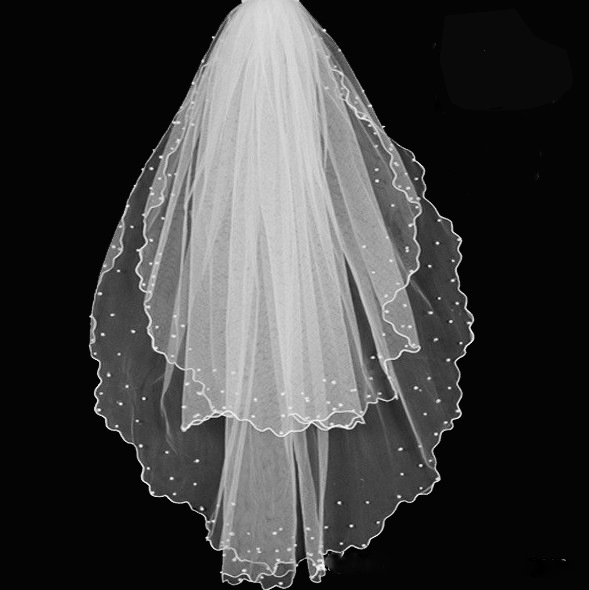 2016 New Veil For Pearls Wedding Dress Bridal Gown Pencil