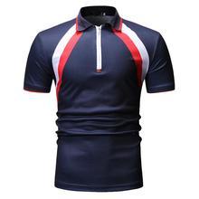 Stripe Men Polo Shirt Short sleeve Casual Tees Lapel collar Tops Mens Clothing Fashion Black navy