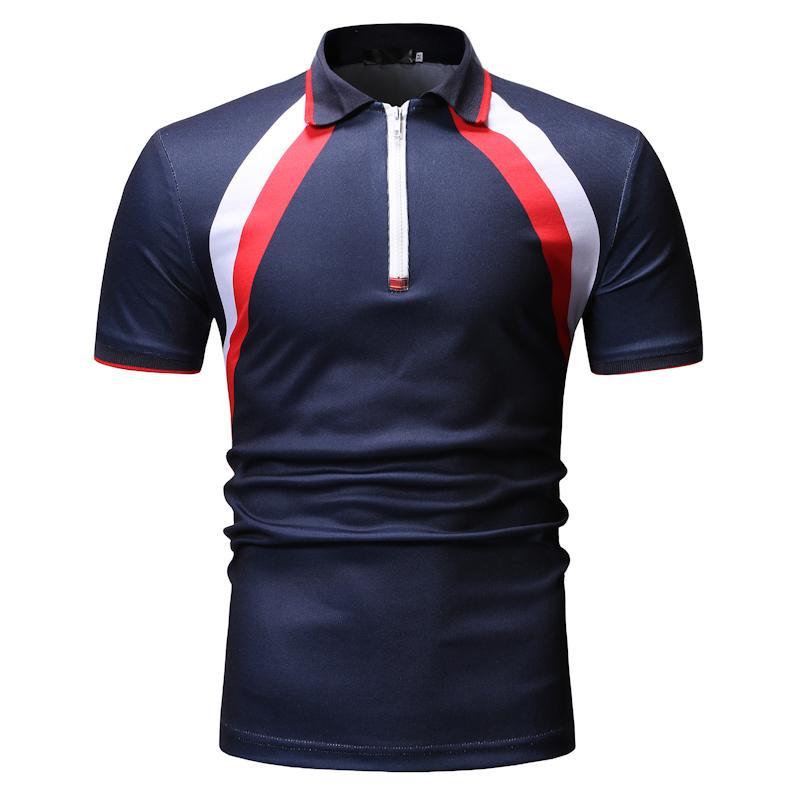 Stripe Men   Polo   Shirt Short sleeve Casual Tees Lapel collar Tops Men's Clothing   Polo   Shirt Men Fashion Black navy