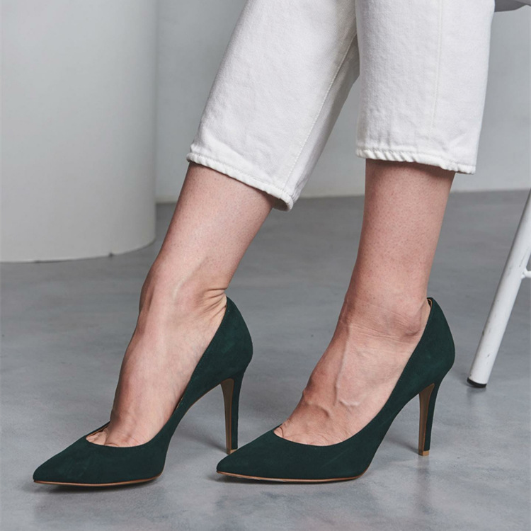 COWCOM  High-heeled Shoes  Shallow Mouth Pointed Dark Green Elegant Korean  Suede Professional Single Shoes Women GXF-2977-34