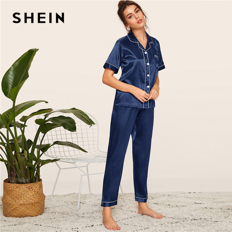 Image 4 - SHEIN Navy Letter Embroidered Satin Pajama Set Short Sleeve Long Pants Pajamas for Women Sleepwear Casual Ladies Pajama Sets-in Pajama Sets from Underwear & Sleepwears