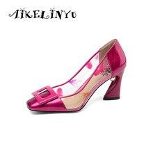 AIKELINYU  Transparent Print PVC Pearl Pumps Peach Pink Square Head Party Fashion Nightclub Women Slip-on Blue Shoes Lady