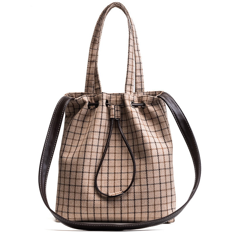 006c96a81 Women Fashion Bucket Bags Women Casual Shoulder Bags Large Plaid Travelling Handbag  Light Designer Cotton Cross Body Bags-in Shoulder Bags from Luggage ...