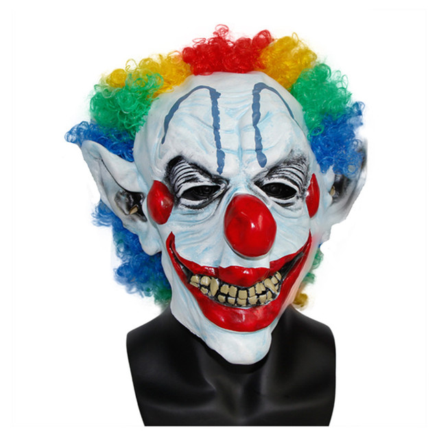 xmerry toy halloween mask clown latex mask scary gorgeous wig complete head mask hot