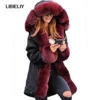 Lenght Women Fur Parka New Nice Faux Fox Fur Collar Hooded Fur Lining Parka Female Winter Warm Jacket Coats Thick Parkas