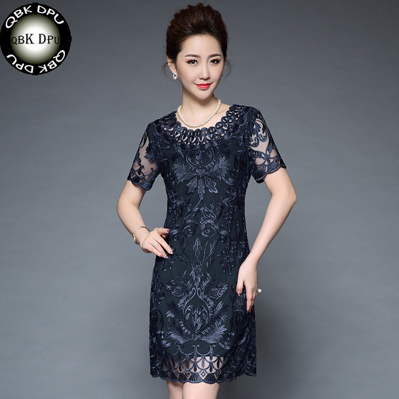 Nice Moms Plus Size 5xl Elegant Dress Women Short Sleeve Party Slim Waist Bodycon Dresses Purple Vintage Mesh Embroidery Dresses Women's Clothing