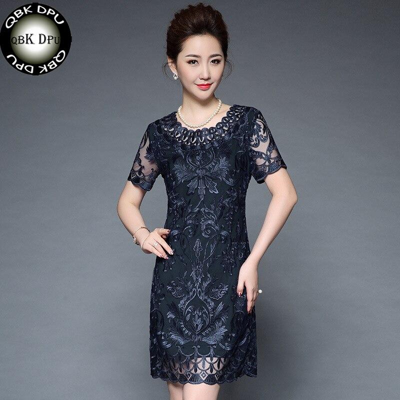Été maille broderie à manches courtes moulante robe femmes et vintage genou-longueur à lacets bureau robe vestidos robe longue s-4xl