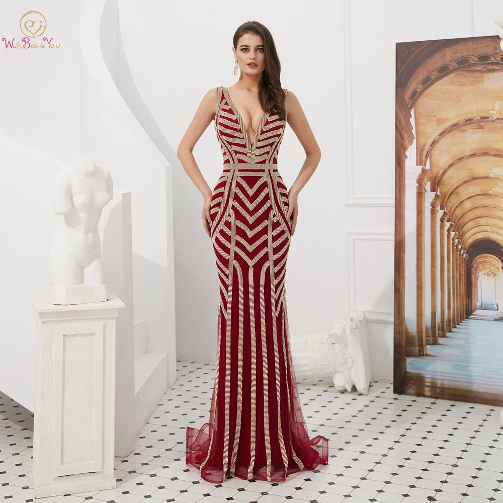 Sexy Prom Dresses Deep V Neck Crystal Rhinestone Mermaid Backless Long Evening Gowns Walk Beside You Sleeveless 2019 Party Dress