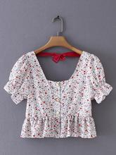 AOEMQ Blouse White Floral Flower Blouse Square Collar Sweet Style Lantern Sleeve Blouse with Cute Bow-knot Decorat Women Tops floral embroidered knot hem blouse