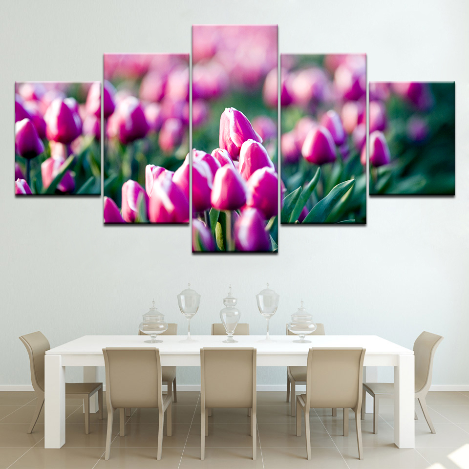 Fleur Pour Decoration Salon us $5.59 43% off|the pink tulip flowers 5 panels wallpapers modern modular  poster art canvas painting for living room home decor-in painting &