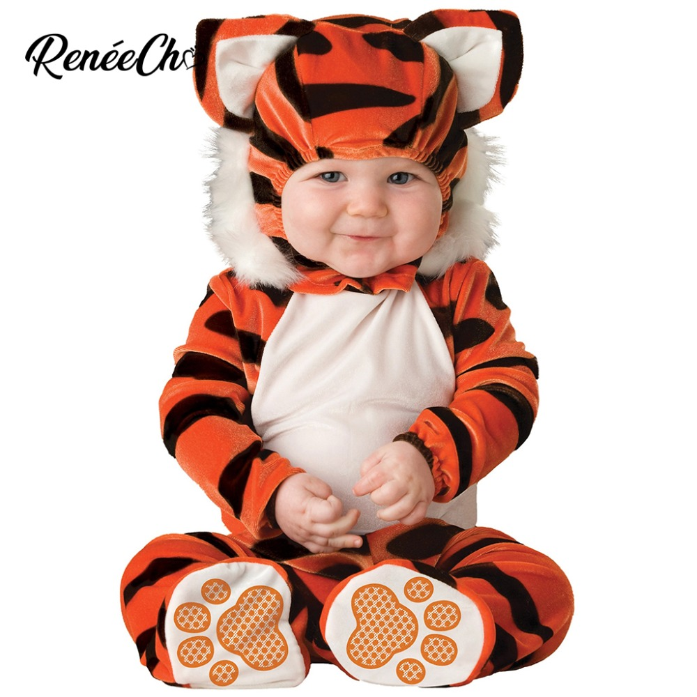 Infant Tiger Costume | 2018 Halloween Costume For Kids Infant Tiger Costume Baby Kigurumi Onesie Winter Animal Cosplay Jumpsuit Shoes Hat Full Set