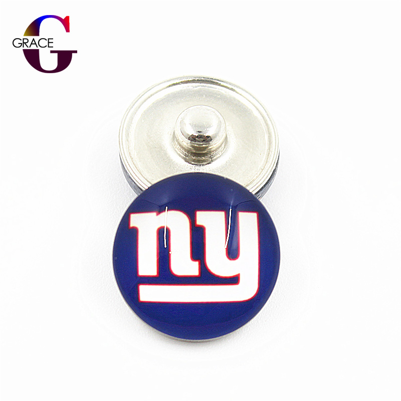 New York Jets Football Team Sports Charms 18mm Replaceable Ginger Glass Snap Buttons Fit Snap Bracelets&Bangles Diy Jewelry