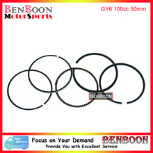 GY6 100cc 50mm PISTON RING SET 4T 139QMB Chinese Scooter Parts ATV Go Kart Znen Baotian