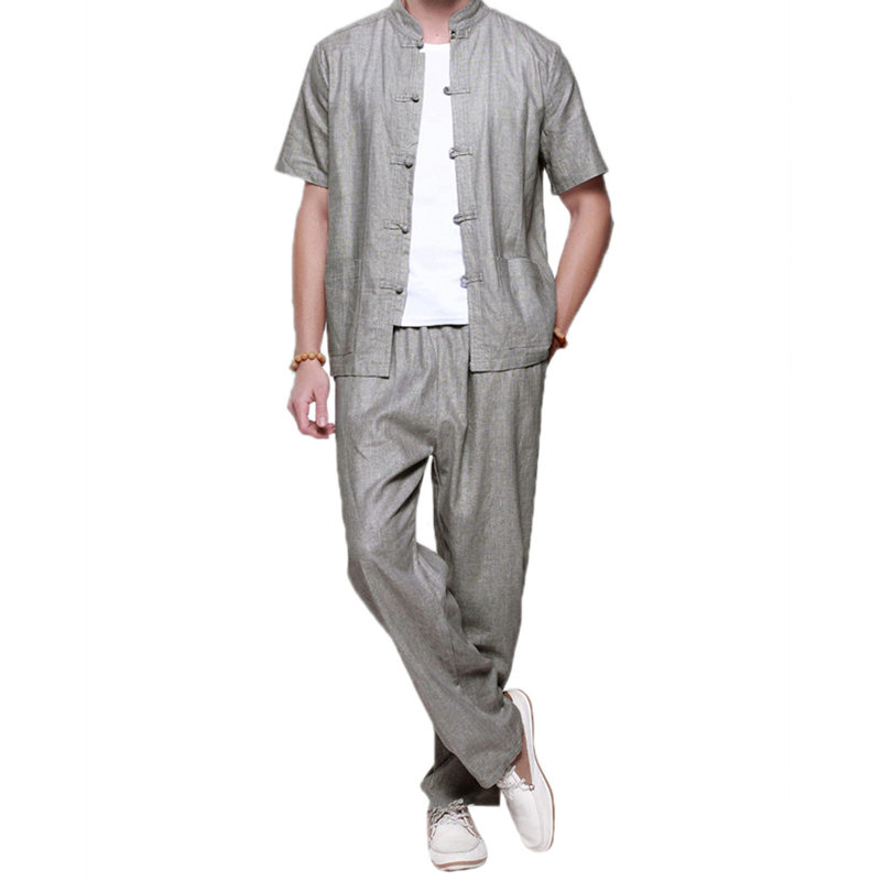 G-LIKE New Summer Chinese Traditional Pure Linen Tang Suit Comfortable Martial Arts Suits Short Sleeve Shirt Breathable Trousers