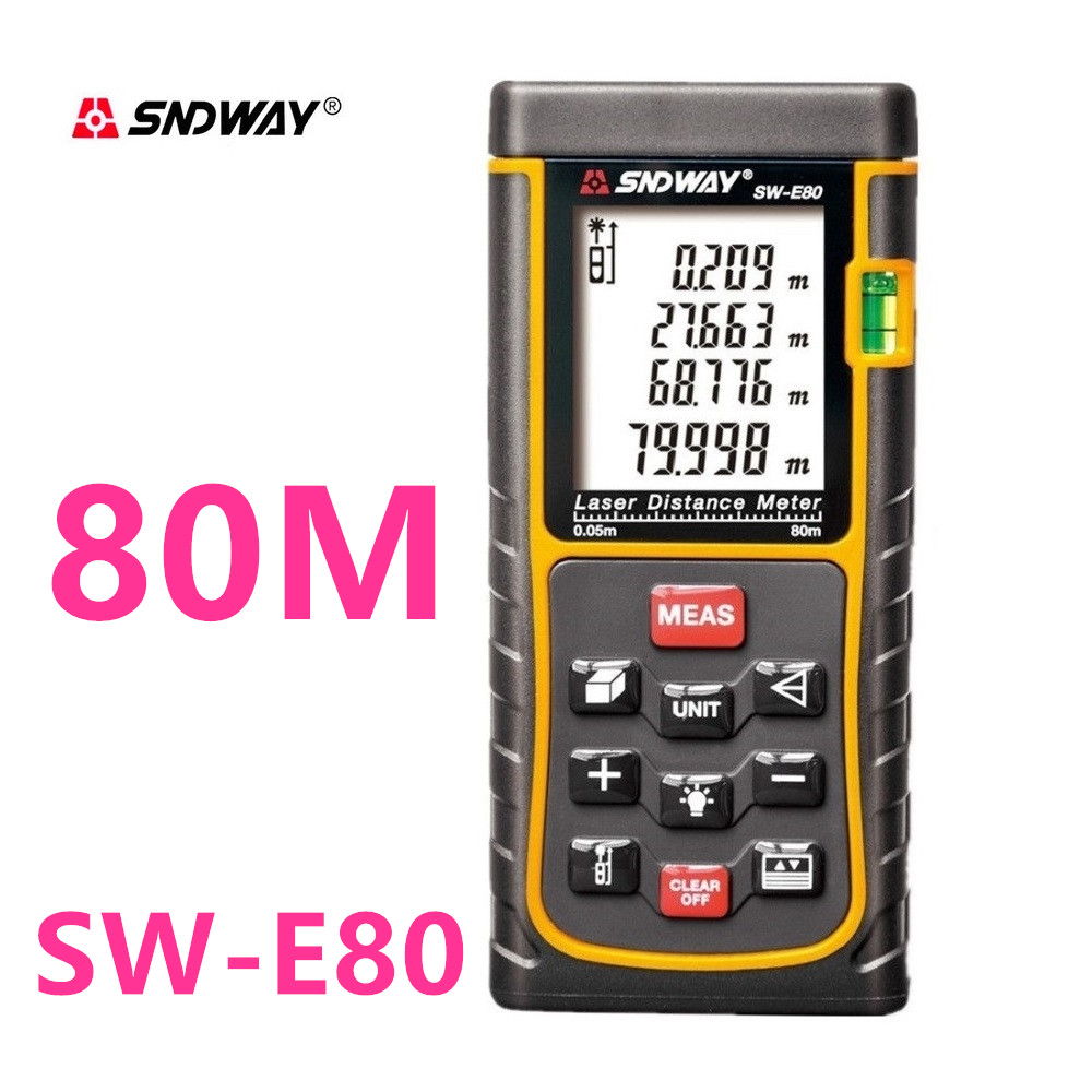 Digital Laser distance meter New 80m 262ft Bubble Level Tool measure Tape Area Volume M in