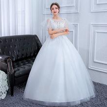 Suknia ślubna 2019 suknie ślubne suknia balowa w stylu Vintage iluzja koronki tiul z krótkim rękawem z krótkim rękawem piętro długość biała Plus rozmiar w ciąży tanie tanio Pricilla NONE Tulle O-neck Długość podłogi Lace up Haft Kwiaty Illusion PW0073 Naturalne Flare rękawem White
