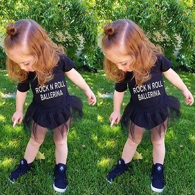 Mode Infantile Bébé Fille Tulle Rock N Roll Barboteuse Robe Tenues ... f625487c292