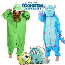 2016 Novo Monstro Universidade Mike Wazowski Sulley Pijama Anime Cosplay Onesies Adulto Pijamas de Flanela Unisex Onesies