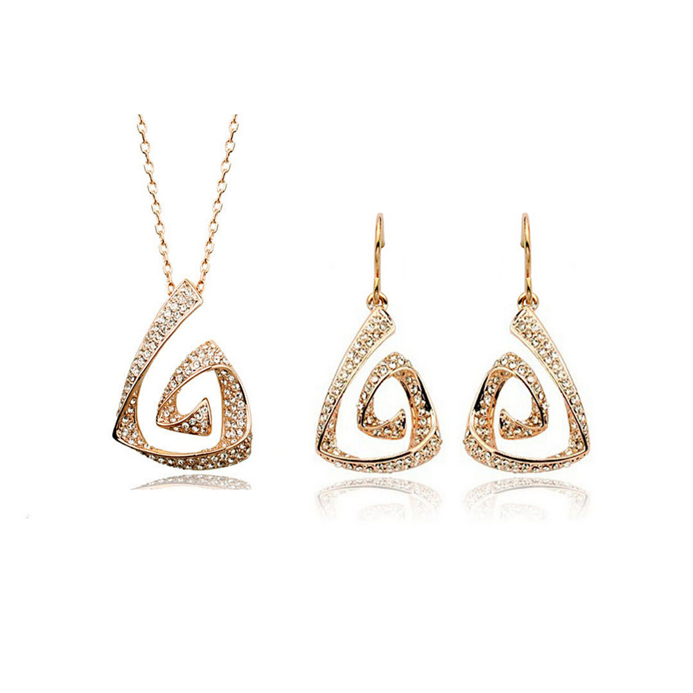 Gold Color Plated Austrian Crystal Jewelry Set Beauty