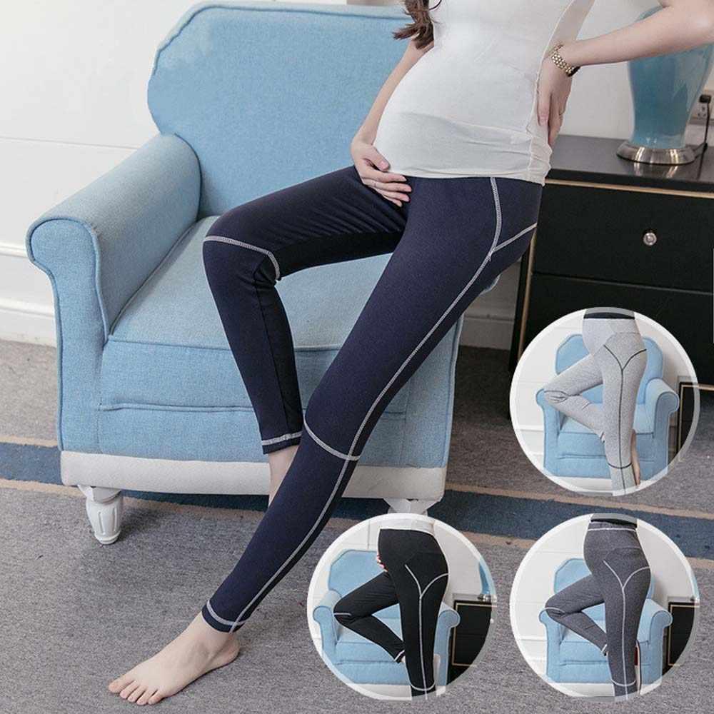 5f96f06f8376c ... Lady Maternity Solid Black Sport Yoga Leggings Pants Clothes for Pregnant  Women Trousers Modal Elastic Clothing ...