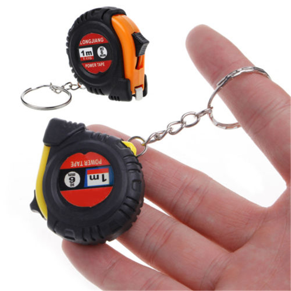 Оригинальная Выдвижная линейка для ключей, 1 шт., детская мини-карманная мини-лента для измерения роста, 1 м, брелок для ключей, произвольный цвет