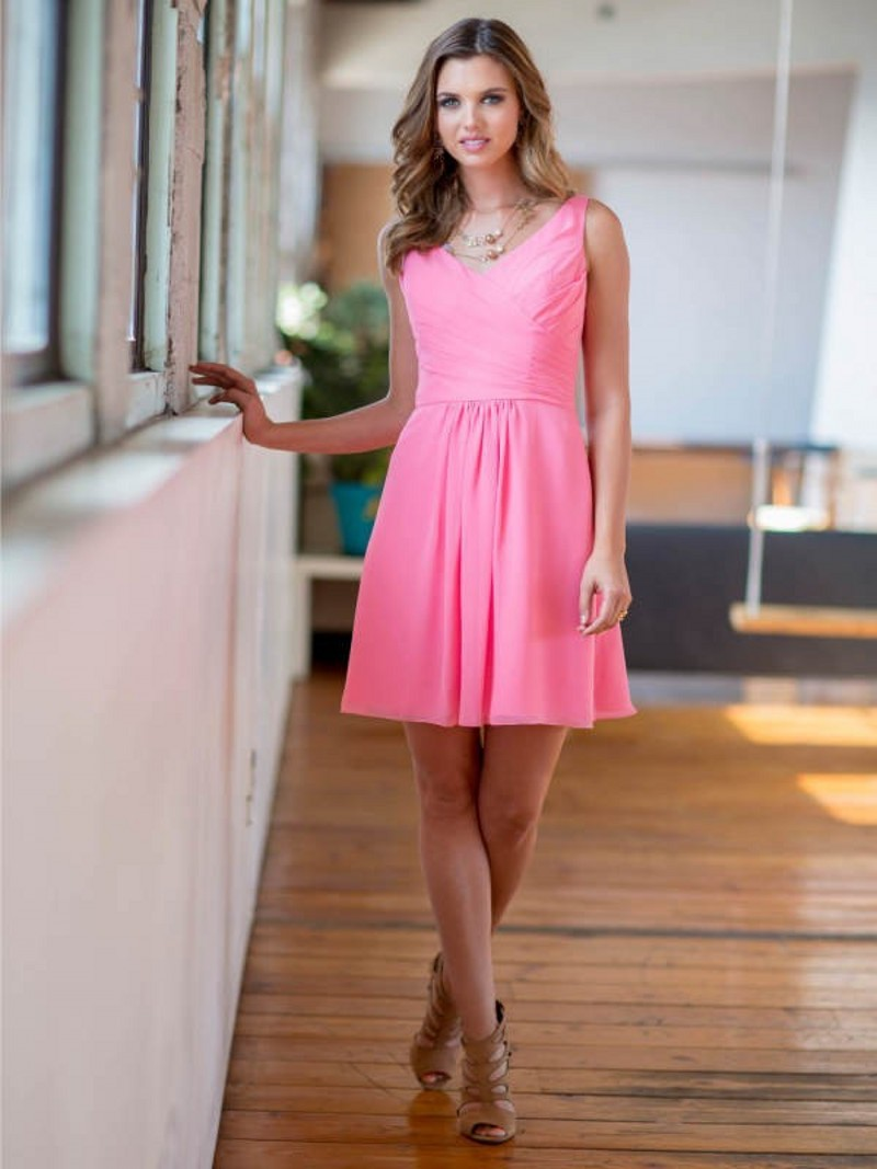 Corto de color rosa Sexy dama de Honor vestidos hermosa doncella de ...