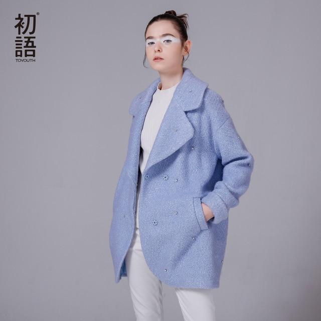 Toyouth 2017 Women Autumn& Winter New Arrival Woolen Jacket Medium-long Turn-down Collar Loose Diamond Women Jacket