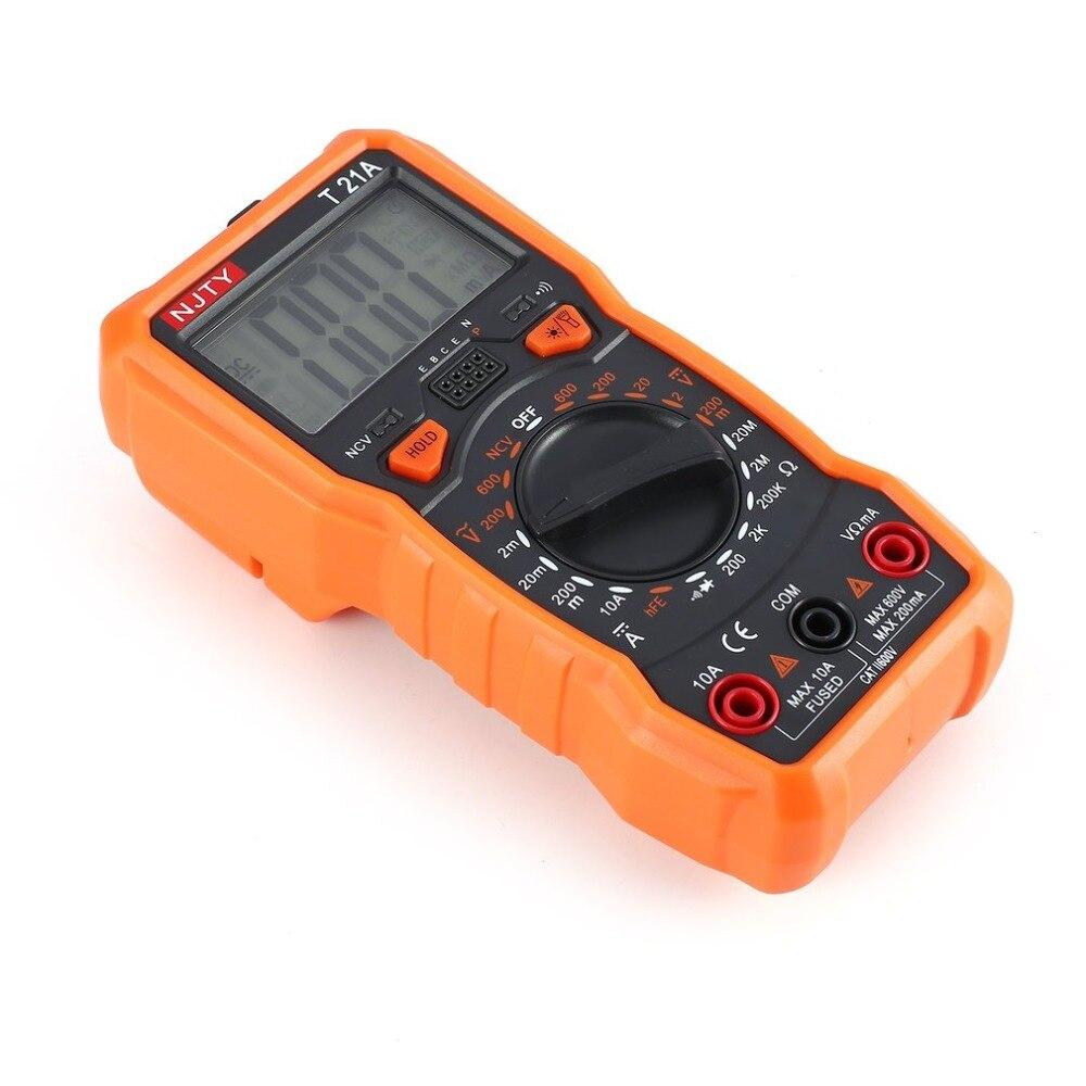 Digital Multimeter NJTY T21A DC/AC Voltage Current Meter Handheld Ammeter Ohm Diode NCV Tester 2000 Counts Multitester