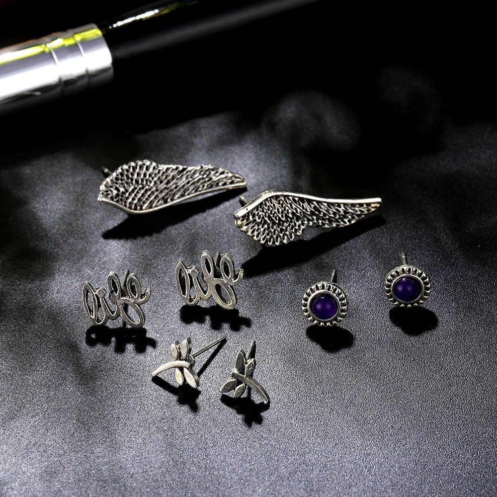 KISSWIFE 4 ペアセットボヘミアン羽紫水晶スタッドピアスセットシルバー金属ヴィンテージ女性のためのジュエリー