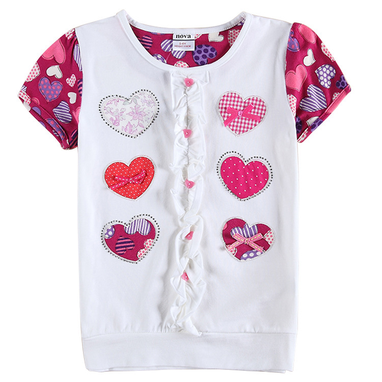 New summer nova brand cotton children clothing girls Girl t shirts design