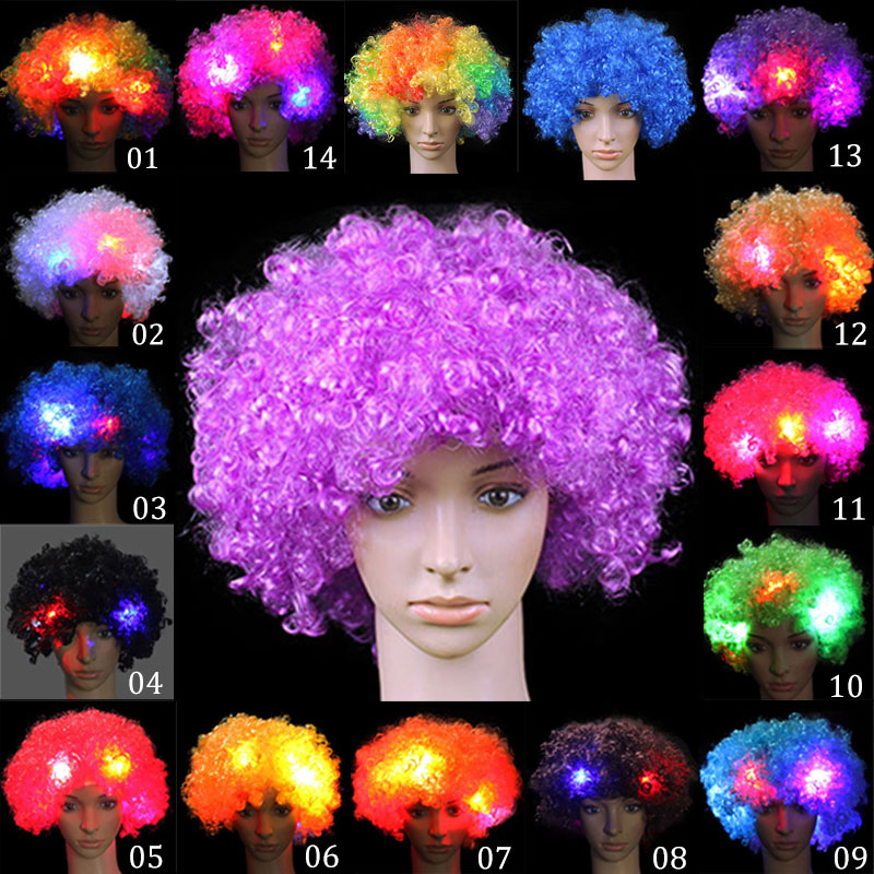Hot Selling Fancy LED Light Curly Hair Wigs Halloween Costume Party Supplies New Cosplay Unisex Clown Mask Funny Toy 88