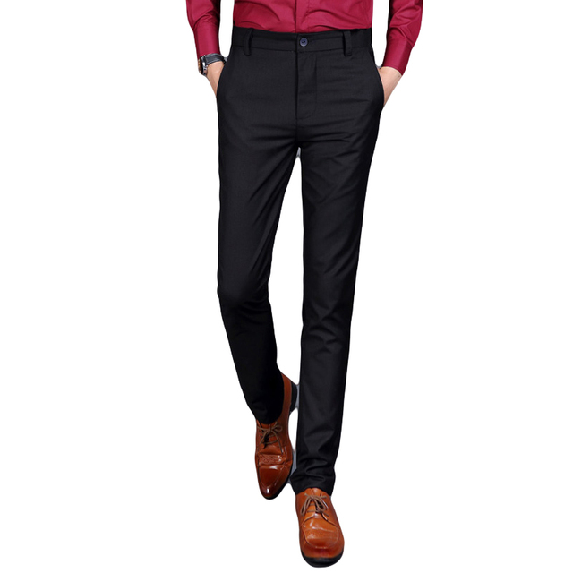 Slim Fit Solid Black Pants
