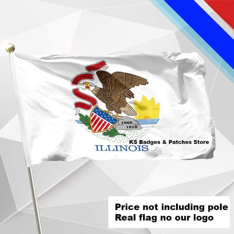 Illinois Flag Flying Flag #4 144x96(3x5FT) #1 288x192 #2 240x160 #3 192x128 #5 96x64 #6 60x40 #7 30x20 ...