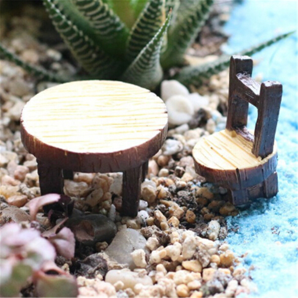 (Round Tables And Chairs) Floral Table Chairs Miniature Landscape Garden Decoration Dollhouse Accessories