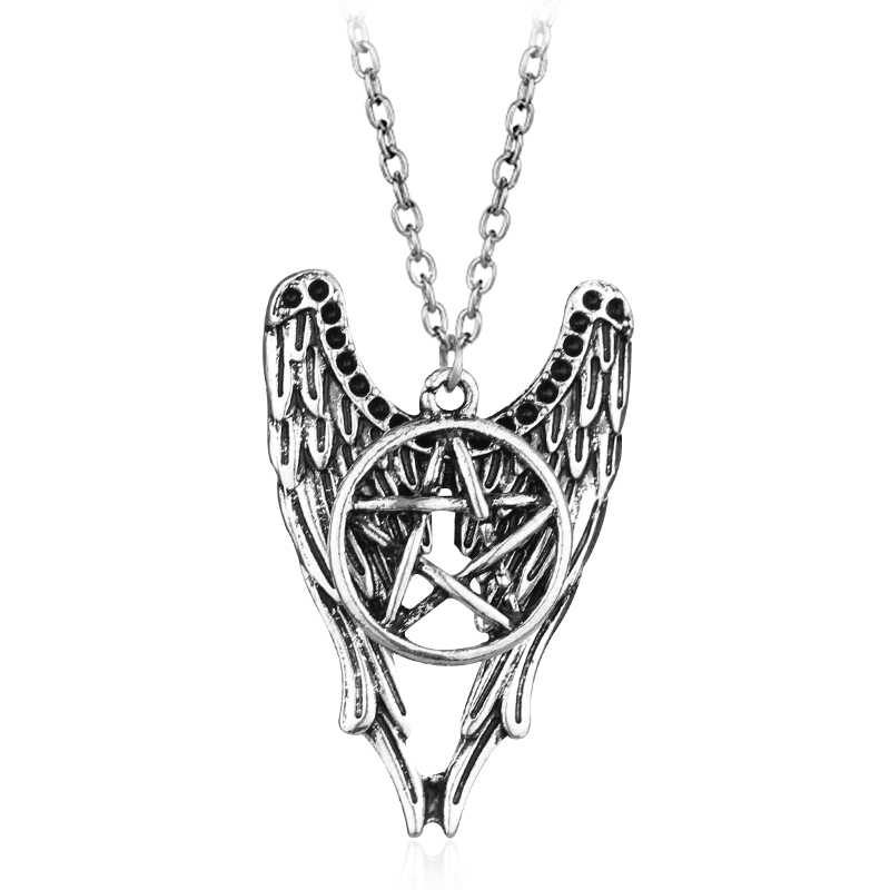 Supernatural Pentagram Pentacle Castiel Angel Wings Vintage Alloy Pendant High Quality Necklace Gift for Fans Hot TV Jewelry