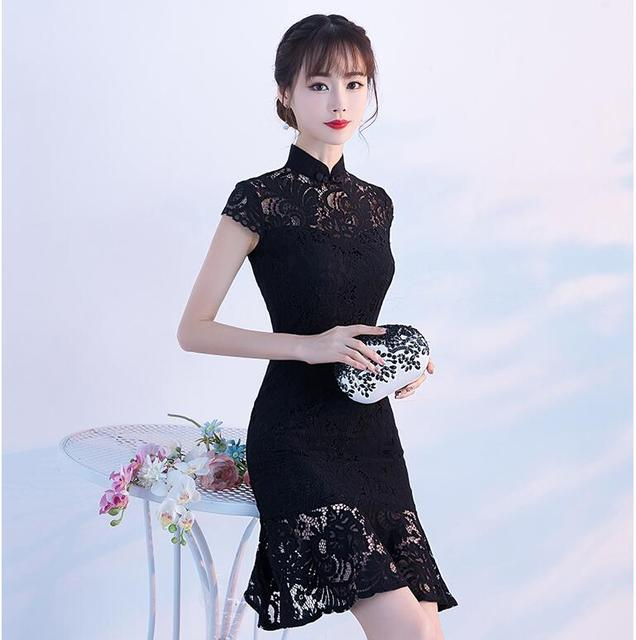 f2af4ec52 Chinese Traditional Long Dress Women's Cheongsam Qipao Vintage Elegant  Party Evening Wedding Dresses Fishtail Slim Lace Dress