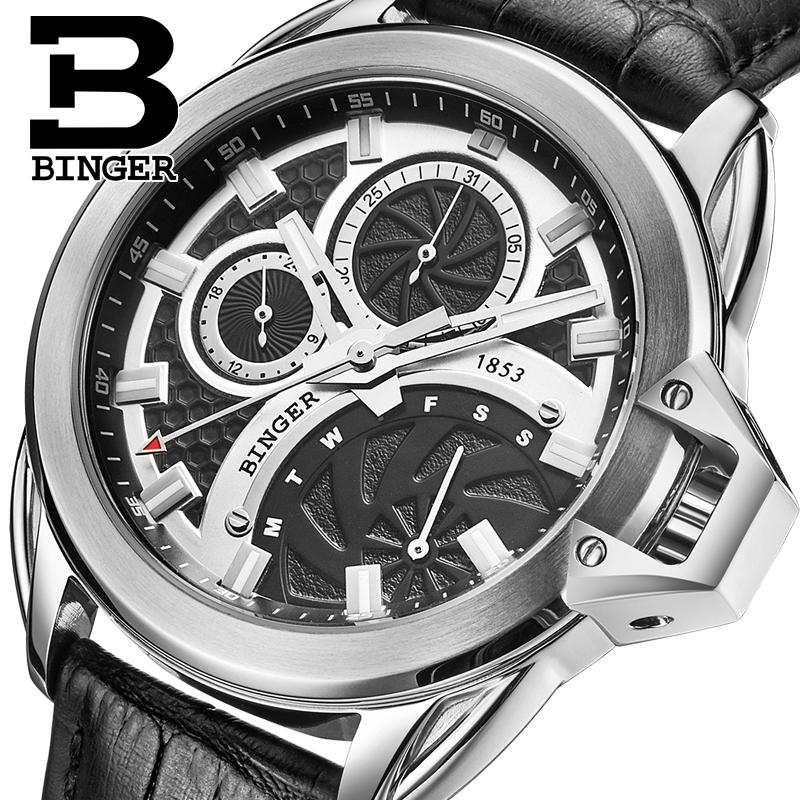 Switzerland watches men luxury brand Wristwatches BINGER Quartz watch leather strap Chronograph Diver glowwatch B6012-4 switzerland watches men luxury brand wristwatches binger quartz watch leather strap chronograph diver glowwatch b6012 5