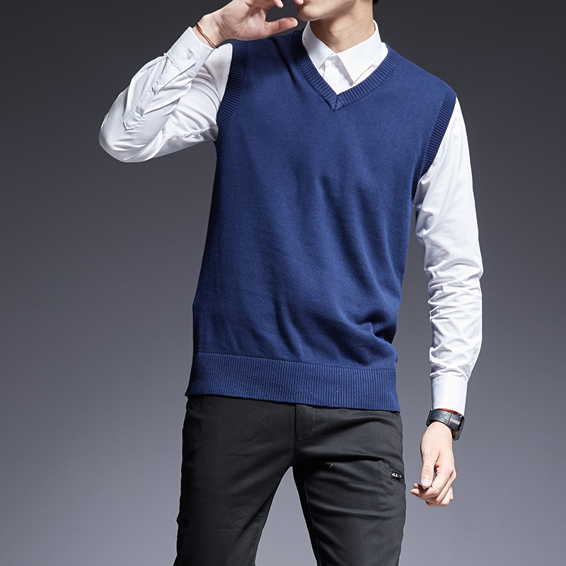2020 New Fashion Brand Sweater For Mens Pullovers Sleeveles Slim Fit Jumpers Knit Thick Autumn Korean Style Casual Men Clothes