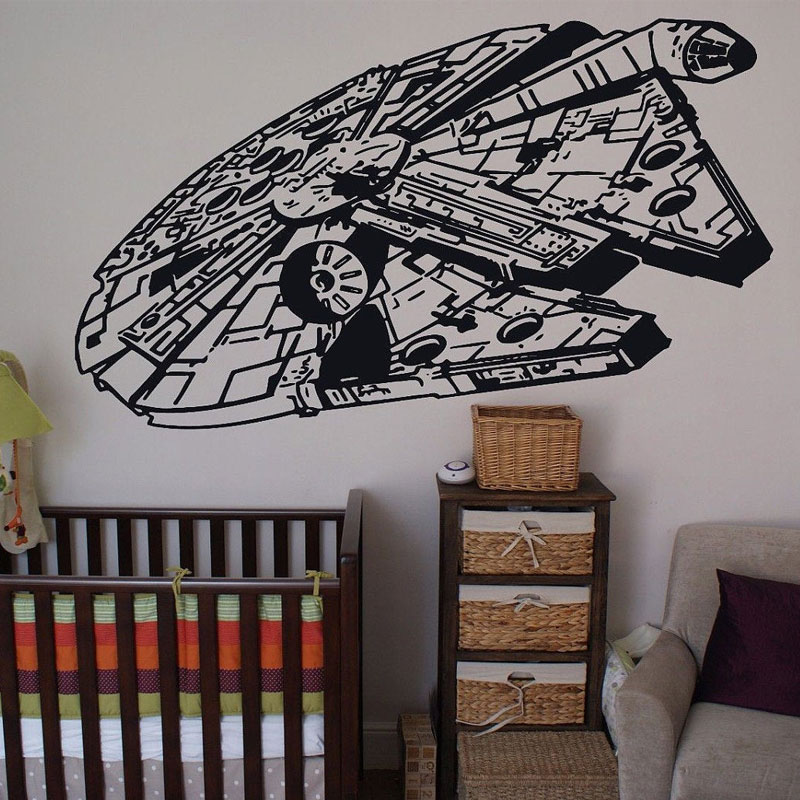 Star Wars Theme Wall Decals Millennium Falcon Boys Room Decor Ideas Vinyl Sticker Home For Kids Bedroom Removable Mural A117 in Wall Stickers from Home Garden