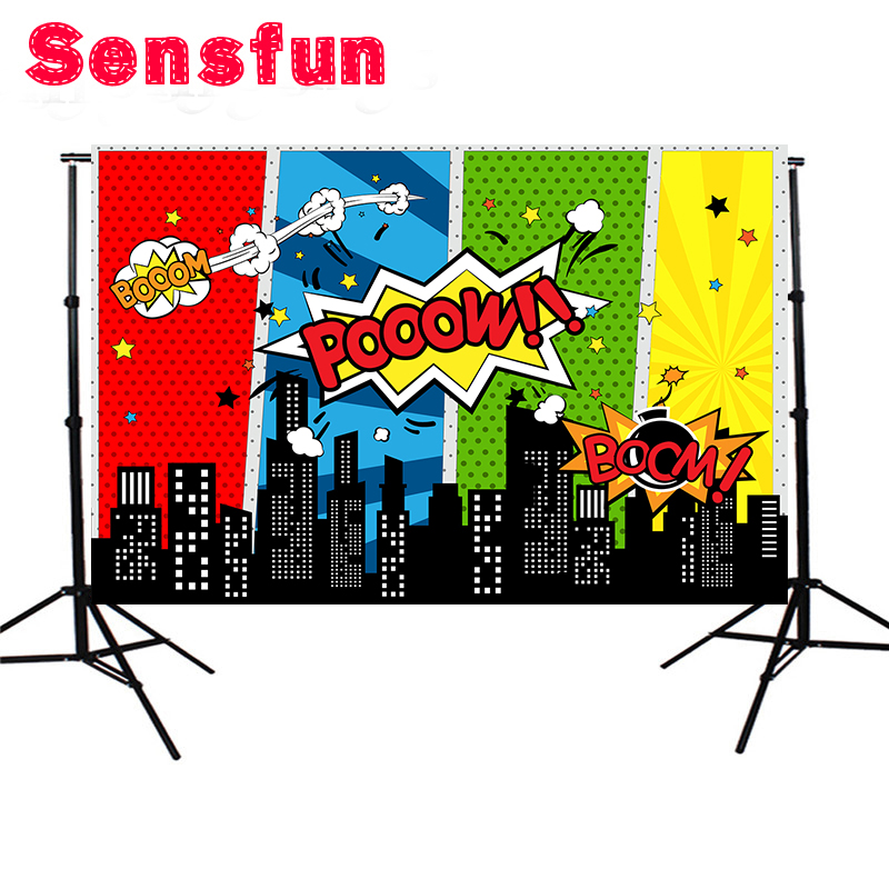 Sensfun photography backdrop Colorful Superhero theme birthday background photo studio Newborn camera fotografica 7x5ft sensfun where the wild things are dessert table backdrops custom photo studio backdrop background vinyl 7x5ft