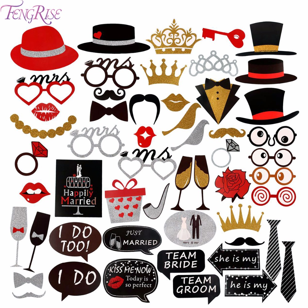 FENGRISE Mr Mrs Just Married Wedding Photo Booth Props Team Bride ...